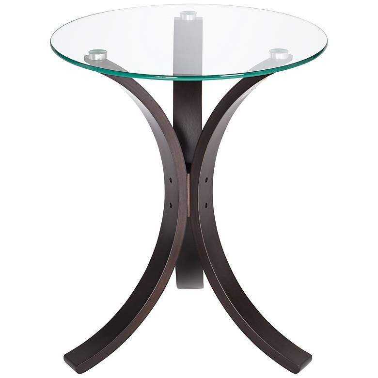 "Niles 17 3/4"" Wide Bent Wood and Glass Modern Accent Table"