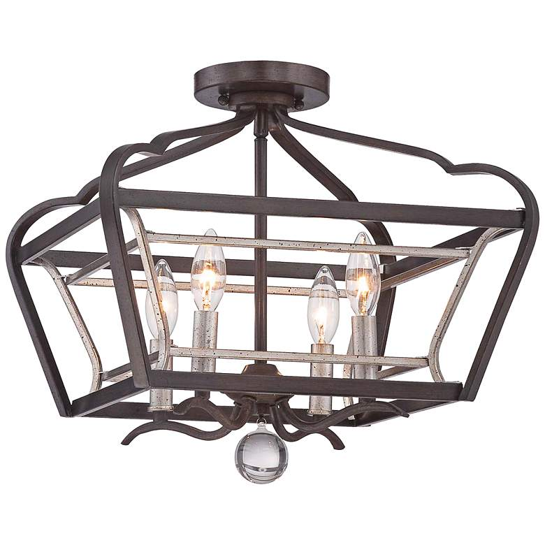 """Astrapia 16""""W Dark Rubbed Sienna 4-Light Ceiling Light"""