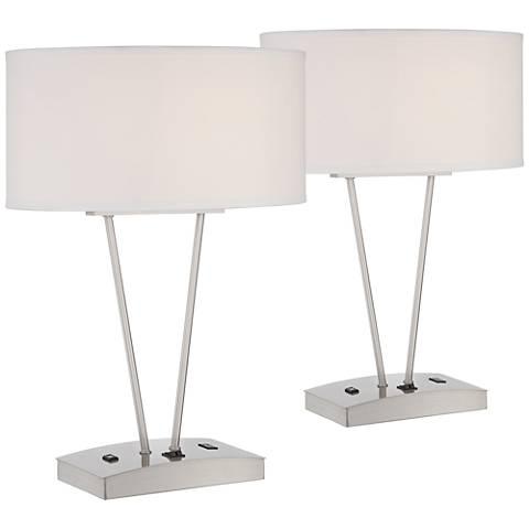 Leon Metal Table Lamp w/ USB Port and Utility Plug Set of 2