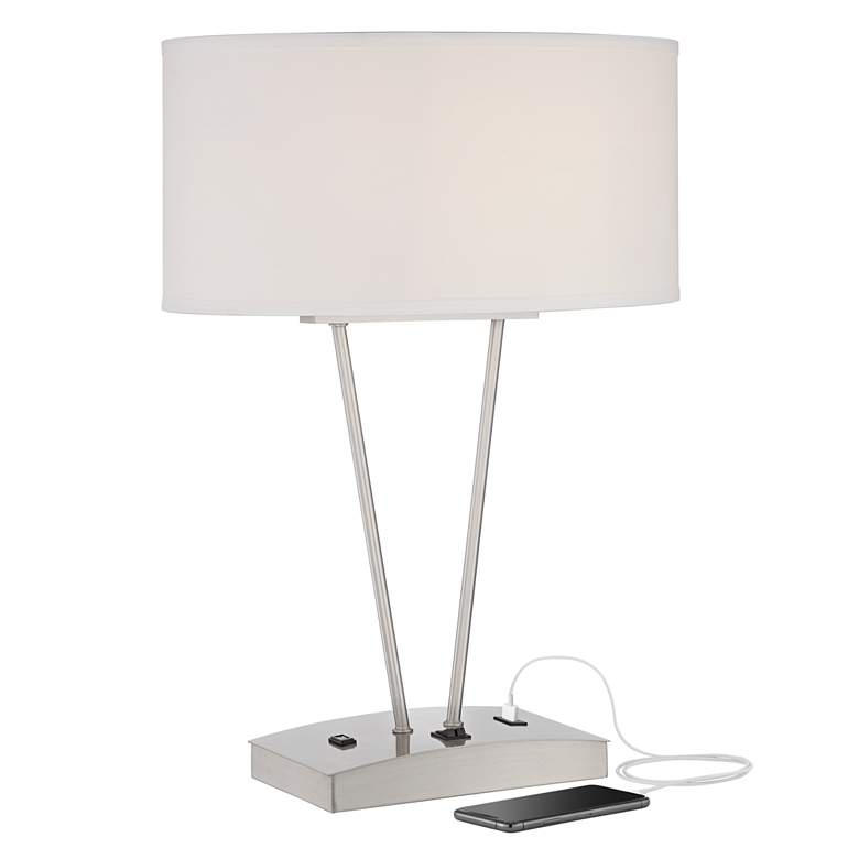 Leon Metal Table Lamp with USB Port and Utility Plug