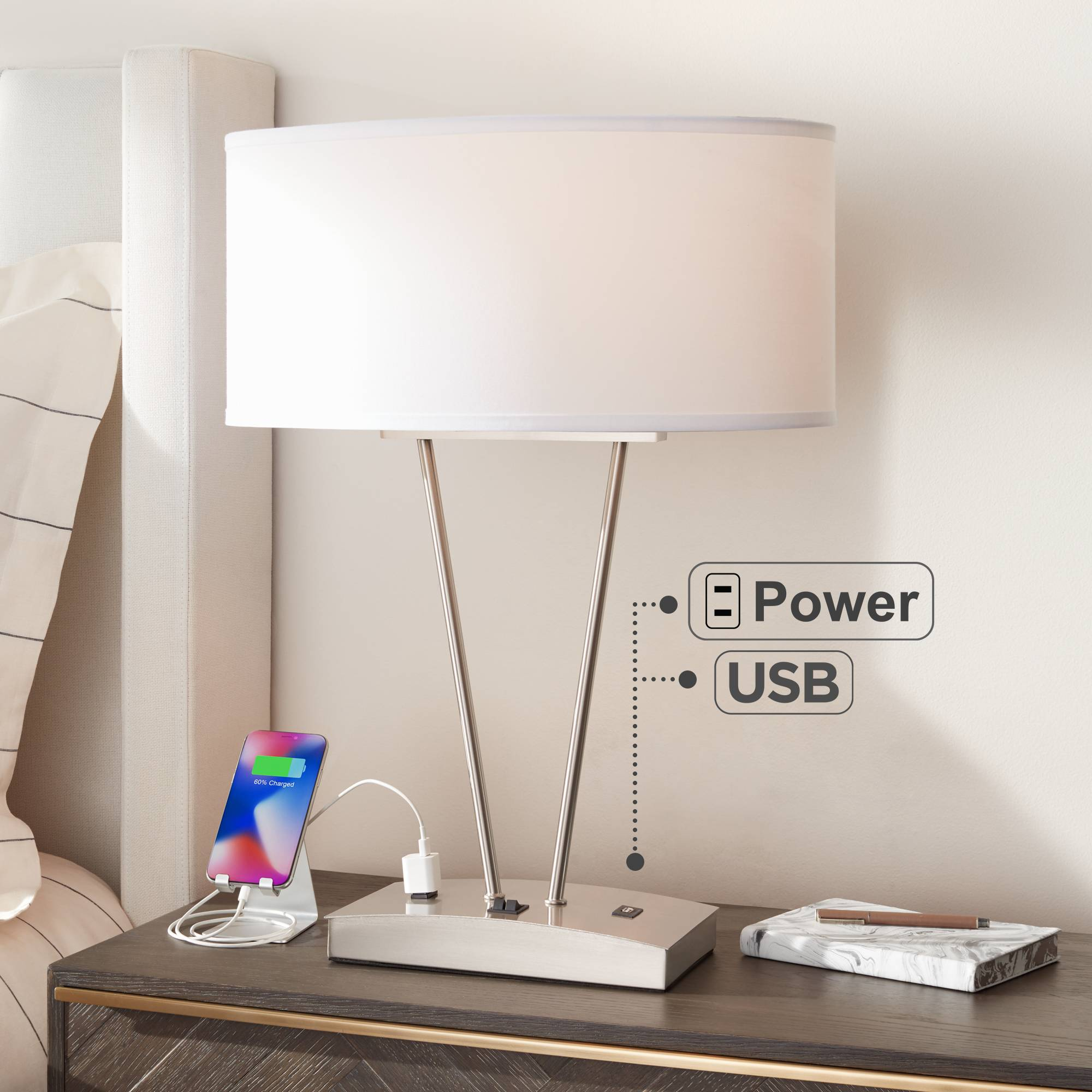 Modern Table Lamp With Usb And Ac Power Outlet In Base Silver For