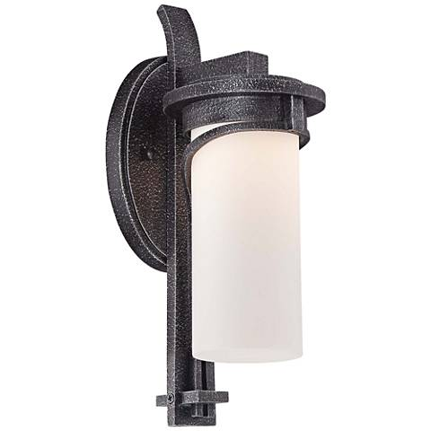 """Hollbrook 14 1/2""""H Stone Silver LED Outdoor Wall Light"""