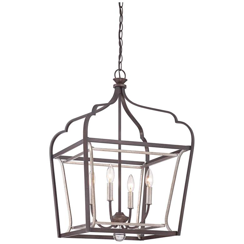 "Astrapia 18"" Wide Rubbed Sienna 4-Light Foyer Pendant"