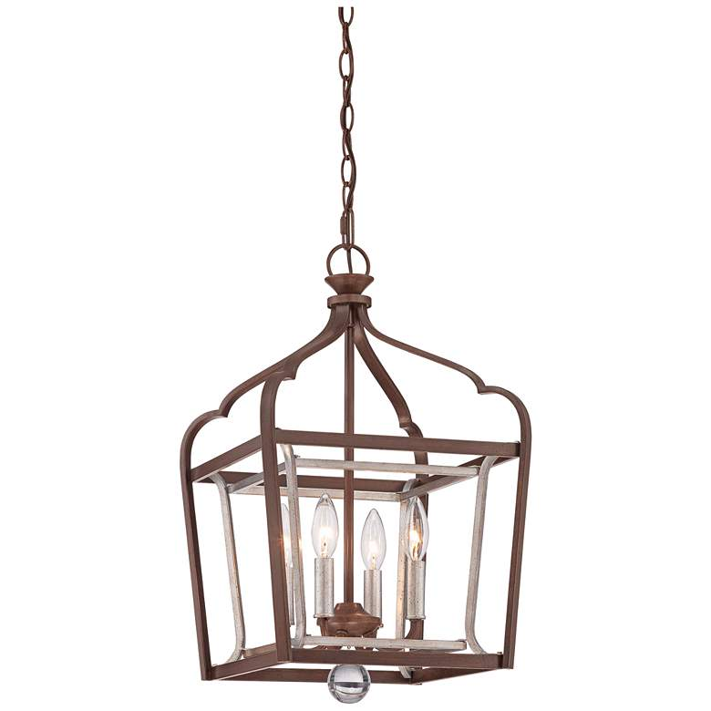 """Astrapia 13"""" Wide Rubbed Sienna 4-Light Foyer Pendant"""