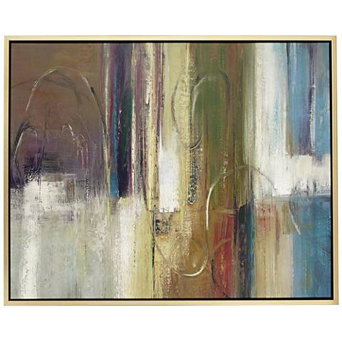 "Brown, Yellow and Blue Abstract 53"" High Framed Wall Art"
