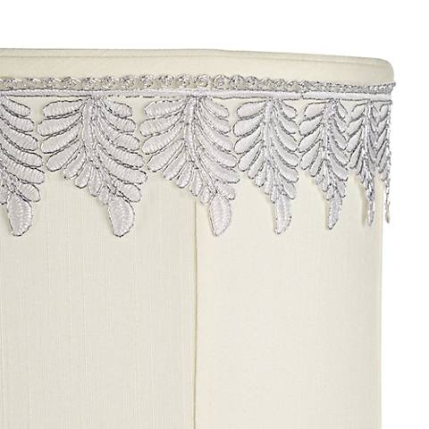 Metallic White-Silver Embroidered Leaf Shade Trim - 3 Yards