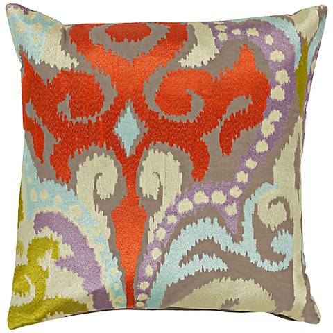 """Surya Radiant Swirl Red and Gray 18"""" Square Throw Pillow"""