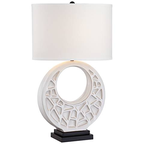 Crescent Moon White Ceramic Table Lamp