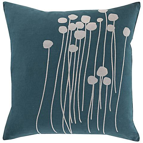"Surya Blooming Buds Dark Green 18"" Square Throw Pillow"