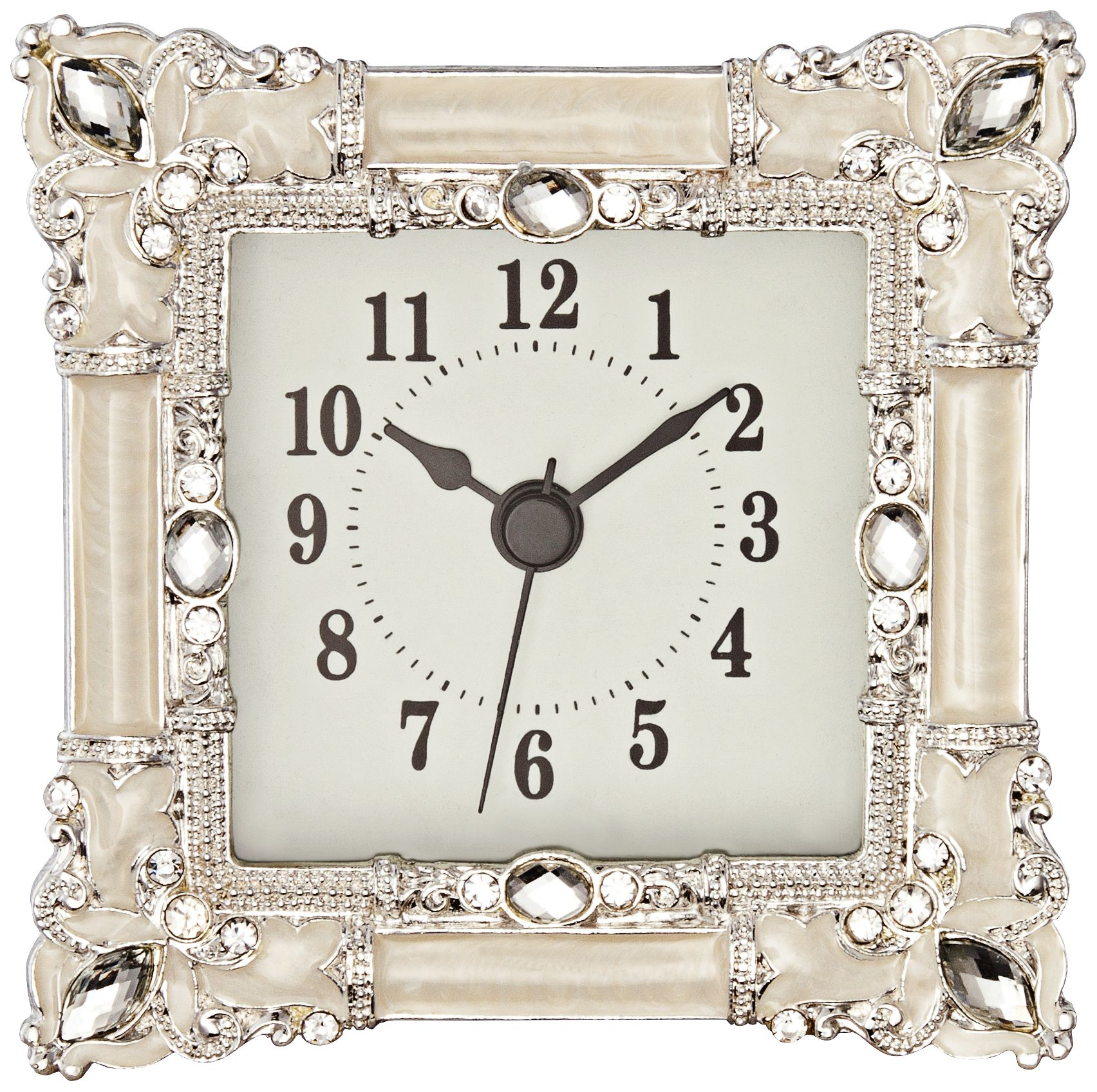 Superb Kenova White And Silver Jeweled Table Clock