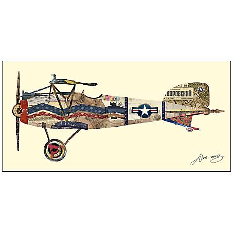 "Antique Biplane III 49"" Wide Wood Framed Wall Art"