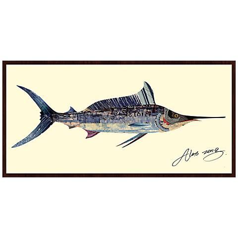 "Blue Marlin 49"" Wide Wood Framed Wall Art"