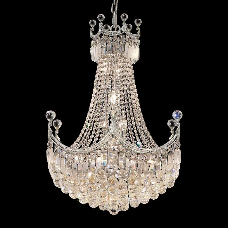 "Corona 24"" Wide Chrome and Crystal 15-Light Chandelier"