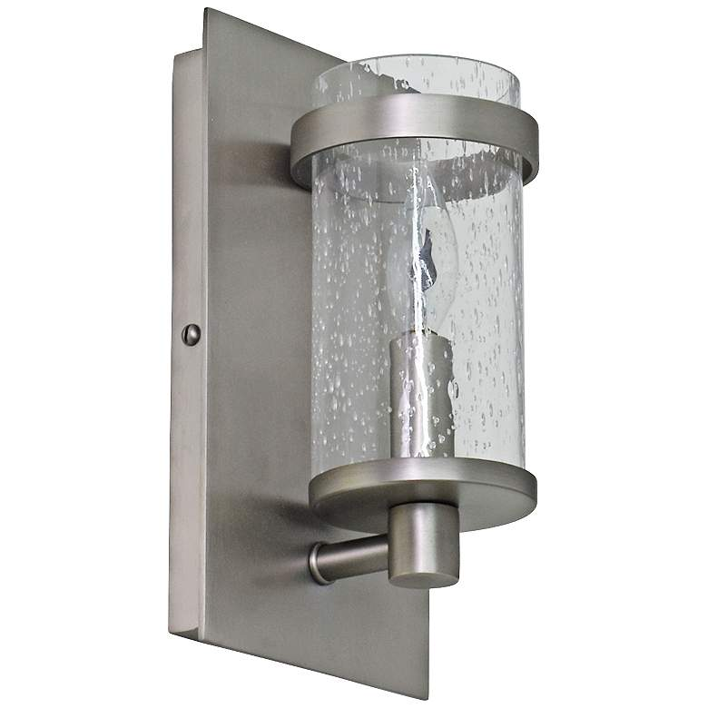 """Lake Shore Beaded 9"""" High Satin Pewter Wall Sconce"""