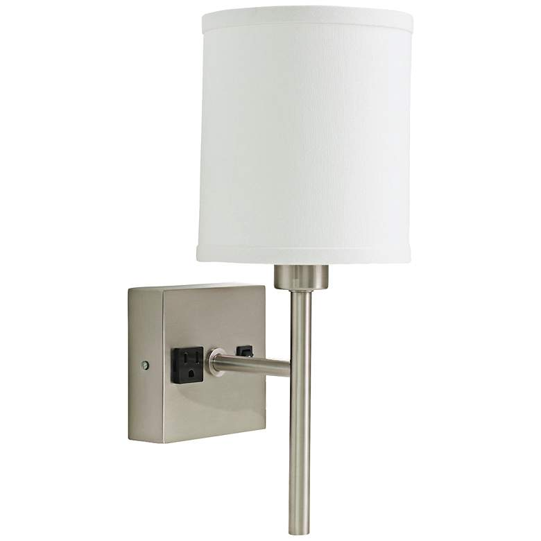 """House of Troy Linear 15""""H Nickel Wall Sconce with Outlet"""