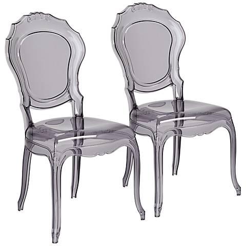 Venezia Transparent Smoke Accent Chair Set of 2