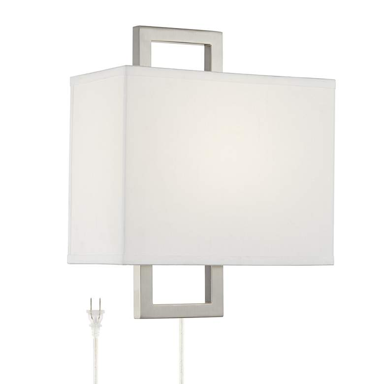 Aundria Rectangular Brushed Nickel Plug-In Wall Lamp