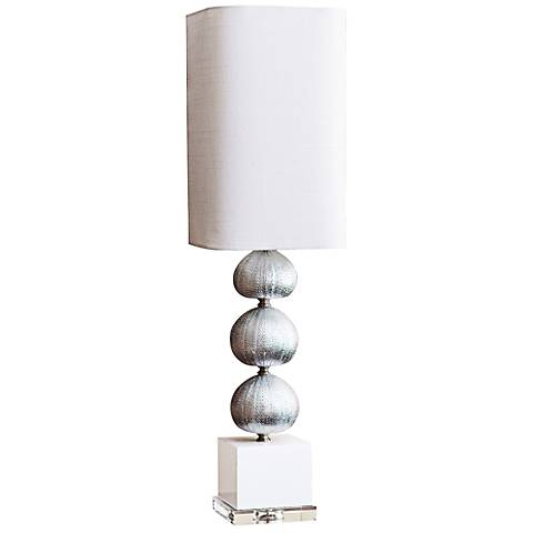 Couture Silver Sea Urchin Silver Leaf Buffet Table Lamp