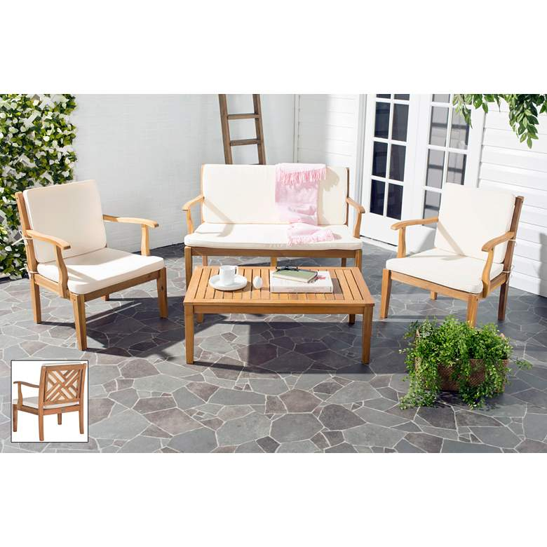Bradbury Brown and Ivory 4-Piece Outdoor Conversation Set