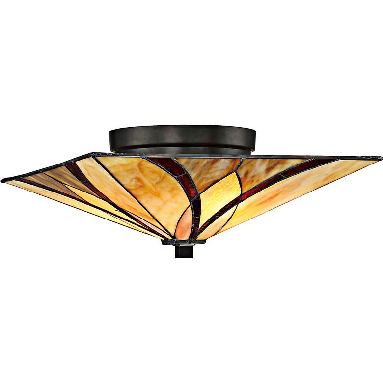 "Quoizel Asheville 15"" Wide Tiffany-Style Ceiling Light"