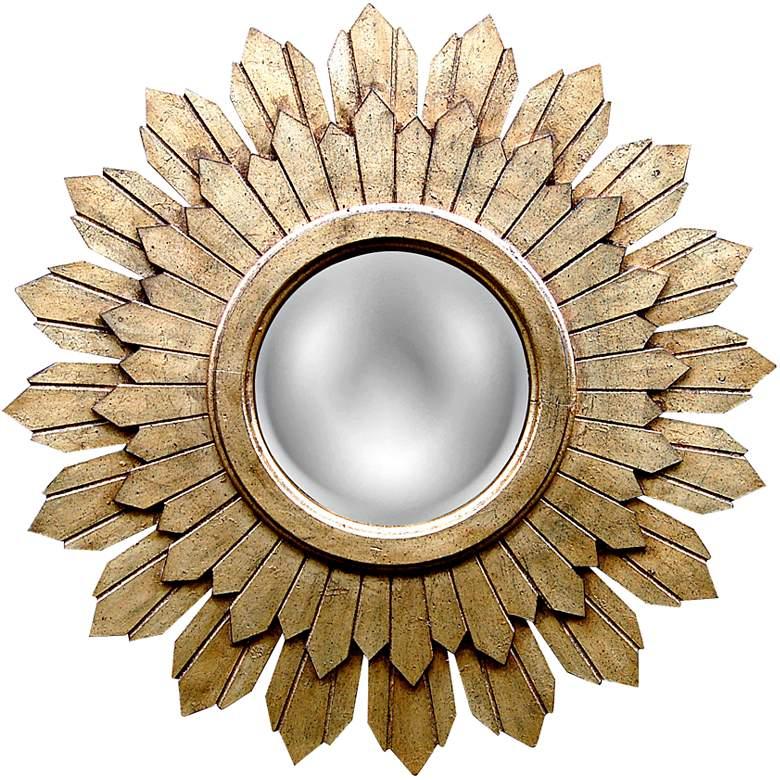 """Sabina Gold Leaf 30 1/2"""" Round Sunburst Wall Mirror"""