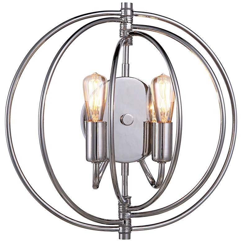 """Vienne 13"""" High Polished Nickel Round 2-Light Wall Sconce"""