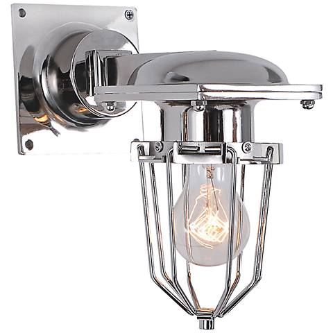 "Kingston 9 1/2"" High Open Cage Chrome Wall Sconce"