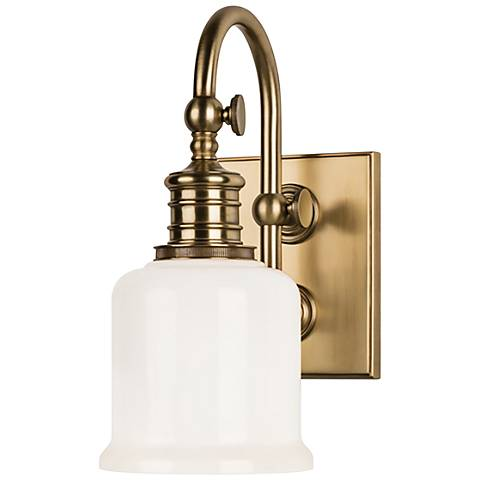 "Hudson Valley Keswick 11"" High Aged Brass Wall Sconce"
