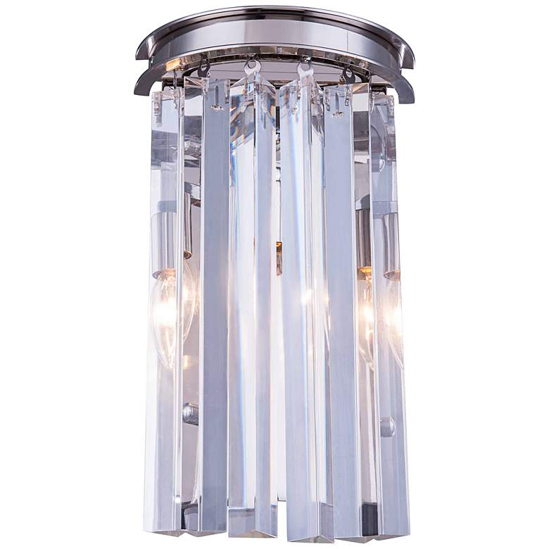 """Sydney 14""""H Polished Nickel Wall Sconce with Clear Crystal"""
