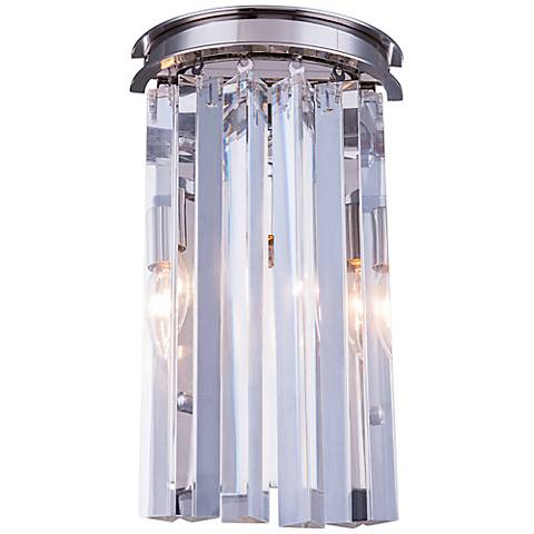 "Sydney 14""H Polished Nickel Wall Sconce with Clear Crystal"