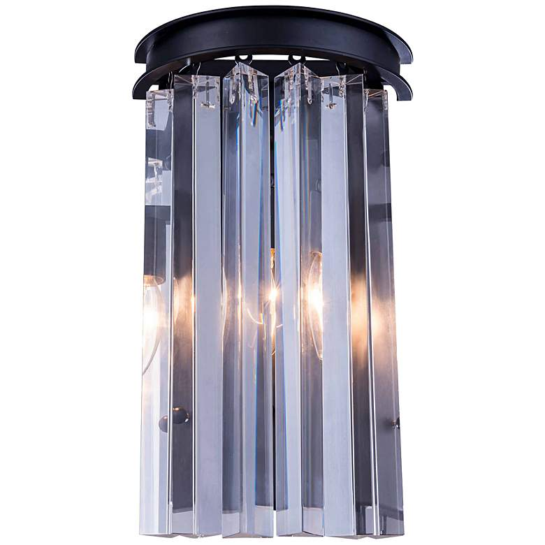 """Sydney 14"""" High Matte Black Wall Sconce with Clear Crystal"""
