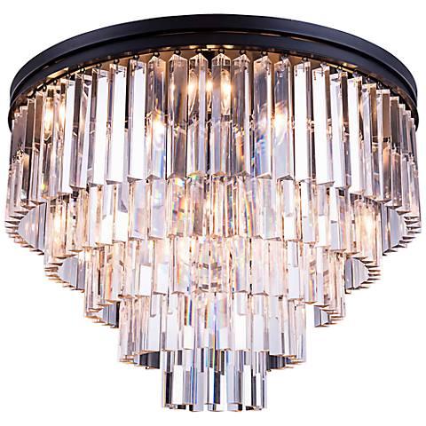 "Sydney 32"" Wide Mocha 5-Tier Clear Crystal Ceiling Light"