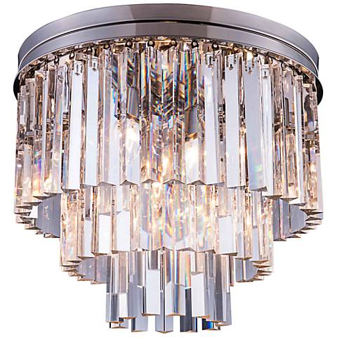 "Sydney 20""W Polished Nickel Clear Crystal Ceiling Light"