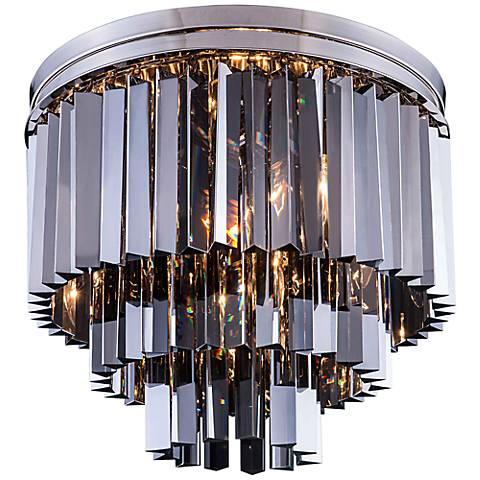 "Sydney 20""W Polished Nickel Silver Crystal Ceiling Light"