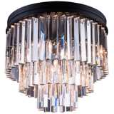 "Sydney 20"" Wide Mocha 3-Tier Clear Crystal Ceiling Light"