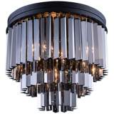 "Sydney 20"" Wide Mocha 3-Tier Silver Crystal Ceiling Light"