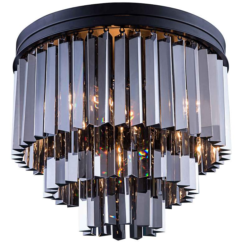"Sydney 20"" Wide Mocha 3-Tier Silver Crystal Ceiling Light"