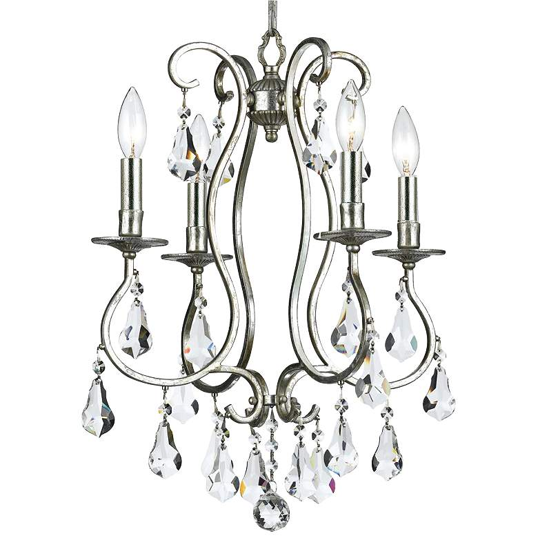 "Crystorama Ashton 16"" Wide Olde Silver 4-Light Chandelier"