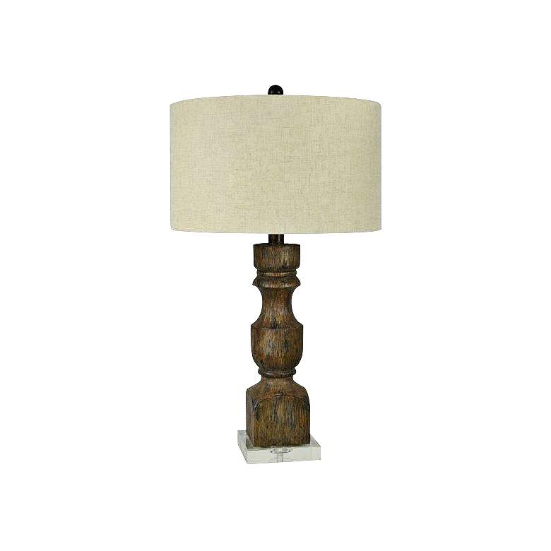 Nora Rustic Brown Candlestick Table Lamp