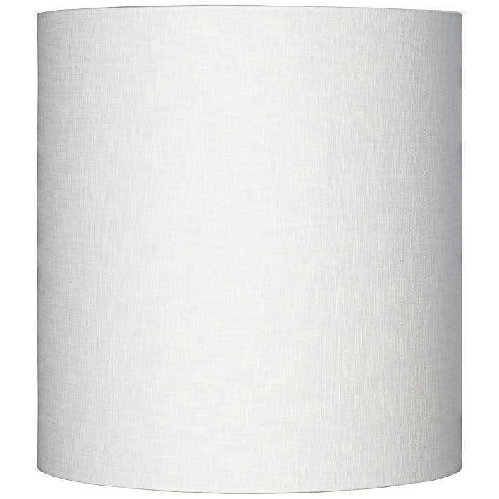 White Tall Linen Drum Shade 14x14x15, Tall Barrel Lamp Shades