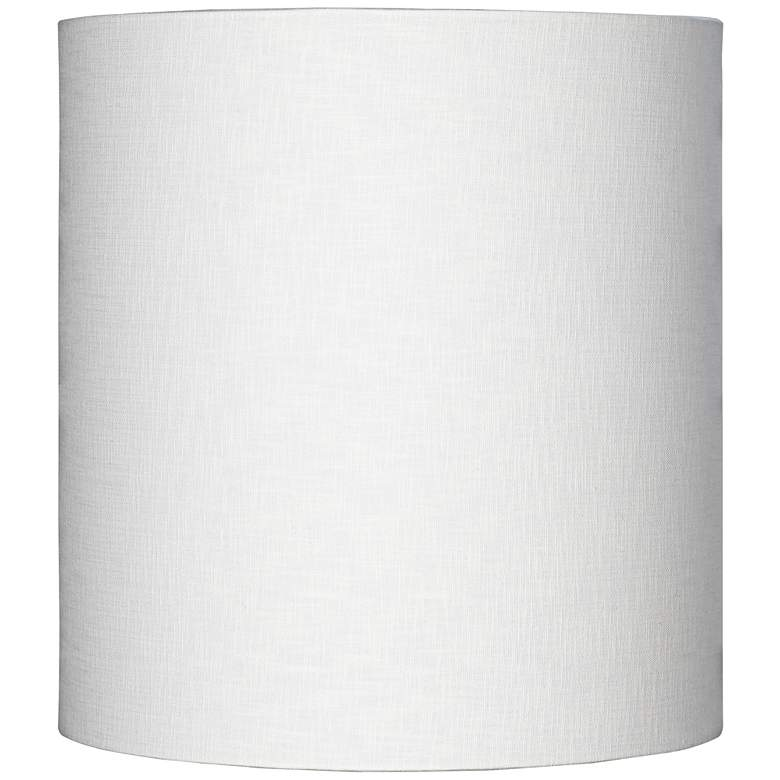 White Tall Linen Drum Shade 14x14x15 Spider
