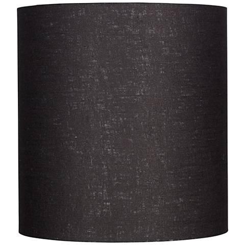 Black Tall Linen Drum Shade 14x14x15 (Spider)