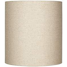 Natural lamp shades lamps plus oatmeal tall linen drum shade 14x14x15 spider aloadofball Images