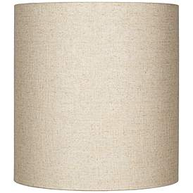 Oatmeal Tall Linen Drum Shade 14x14x15 Spider