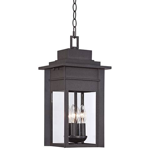 "Bransford 17 1/2""H Black-Speckled Gray Outdoor Hanging Light"