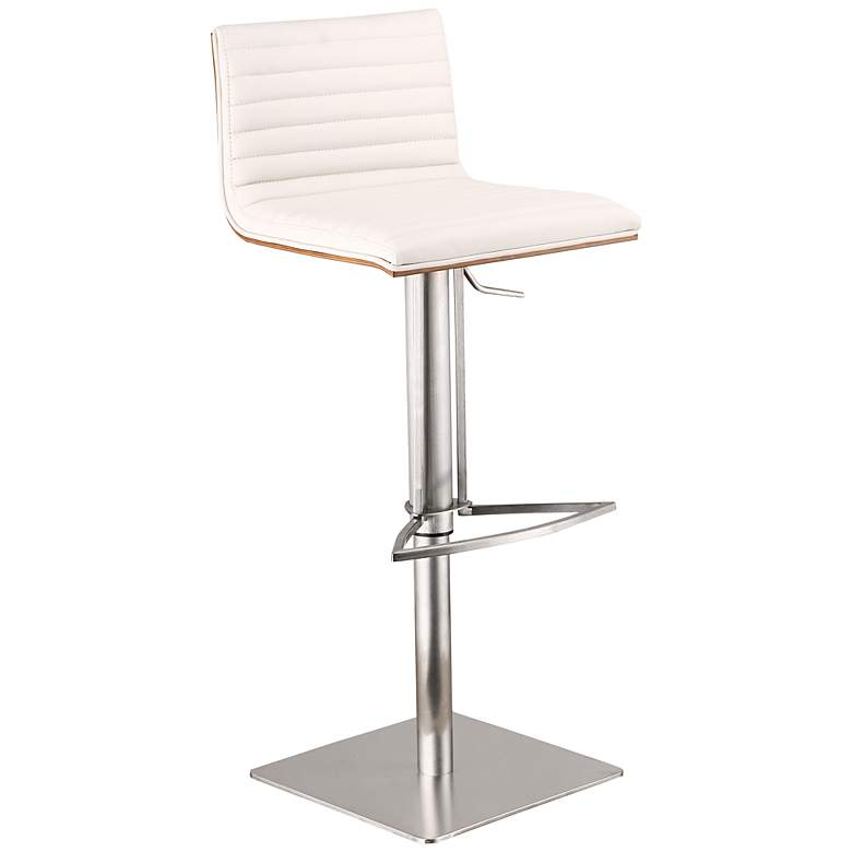 Cafe White Stainless Steel Adjustable Barstool