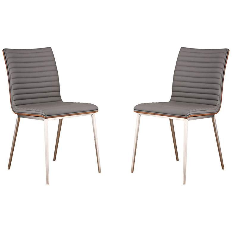 Cafe Gray Faux Leather Dining Chair Set of 2