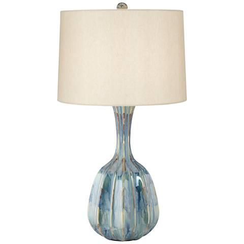 Bella Ribbed Gourd Ceramic Table Lamp