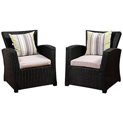 Bronte Black Wicker Outdoor Armchair Set of 2