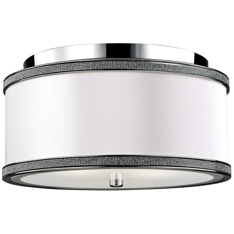 "Feiss Pave 13"" Wide Polished Nickel Ceiling Light"